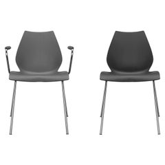 Set of 2 Kartell Maui Armchair in Black by Vico Magistretti