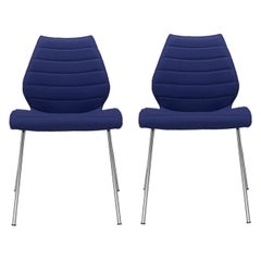 Set of 2 Kartell Maui Soft Trevira Chair in Blue by Vico Magistretti