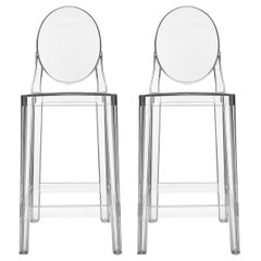 Set of 2 Kartell One More Counter Stools in Crystal by Philippe Starck