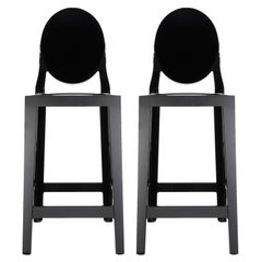 Set of 2 Kartell One More Counter Stools in Mat Black by Philippe Starck