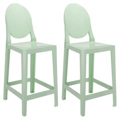 Set of 2 Kartell One More Counter Stools in Mat Green by Philippe Starck