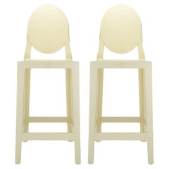 Set of 2 Kartell One More Counter Stools in Mat Yellow by Philippe Starck