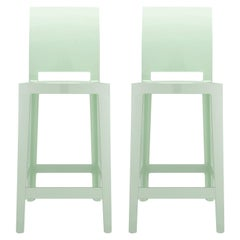 Set of 2 Kartell One More Please Counter Stools in Mat Green by Philippe Starck