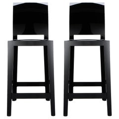 Set of 2 Kartell One More Please Counter Stools in Matt Black by Philippe Starck