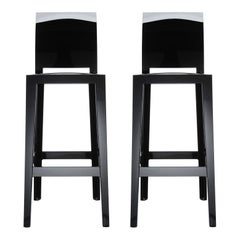 Set of 2 Kartell One More Please Square Bar Stools in Black by Philippe Starck