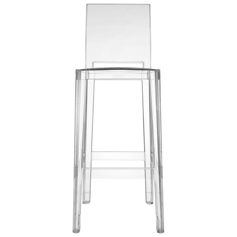 Set of 2 Kartell One More Please Square Bar Stools in Crystal by Philippe Starck For Sale
