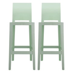 Set of 2 Kartell One More Please Square Bar Stools in Green by Philippe Starck