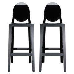Set of 2 Kartell One More Square Bar Stools in Black by Philippe Starck