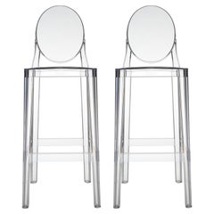 Set of 2 Kartell One More Square Bar Stools in Crystal by Philippe Starck