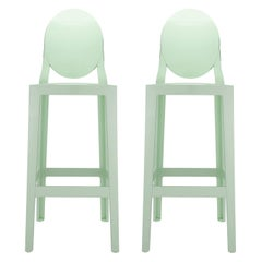 Set of 2 Kartell One More Square Bar Stools in Green by Philippe Starck