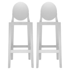 Set of 2 Kartell One More Square Bar Stools in White by Philippe Starck