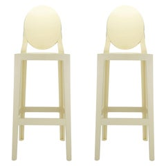 Set of 2 Kartell One More Square Bar Stools in Yellow by Philippe Starck