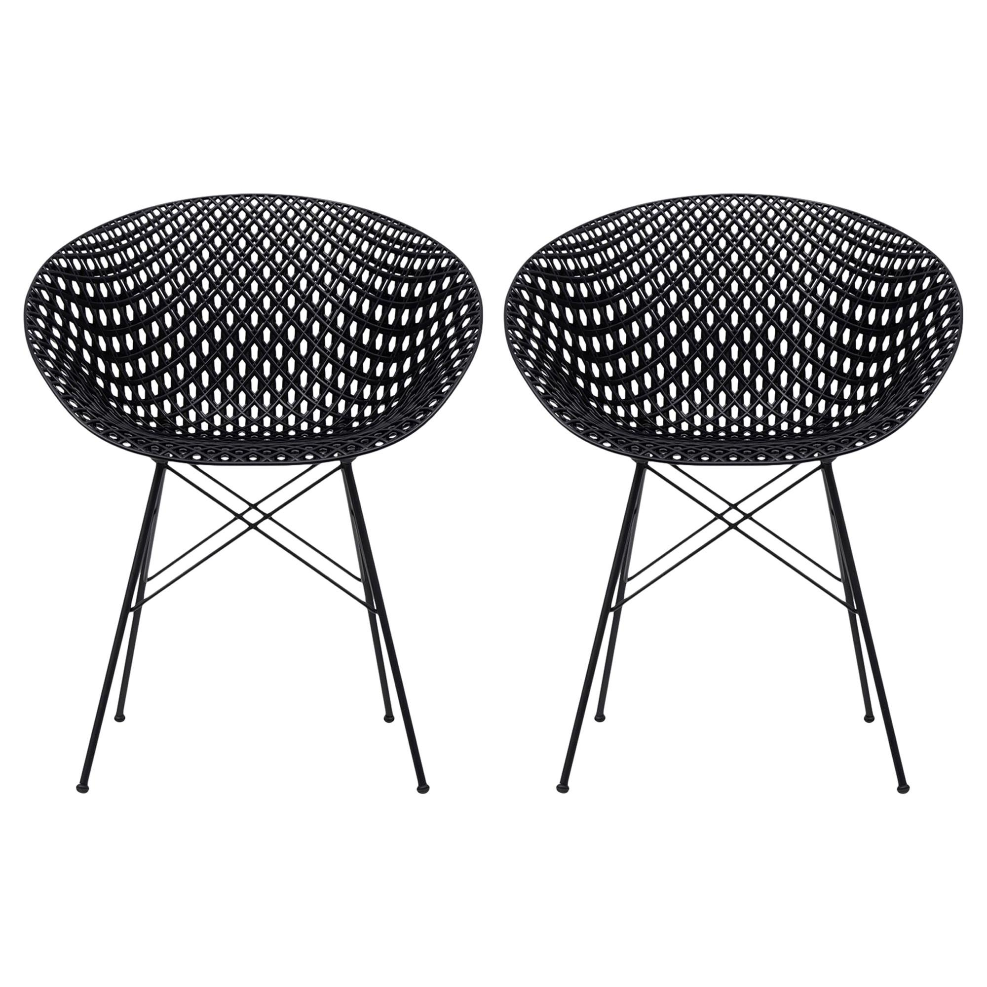 Set of 2 Kartell Smatrik Chair in Black with Black Legs by Tokujin Yoshioka