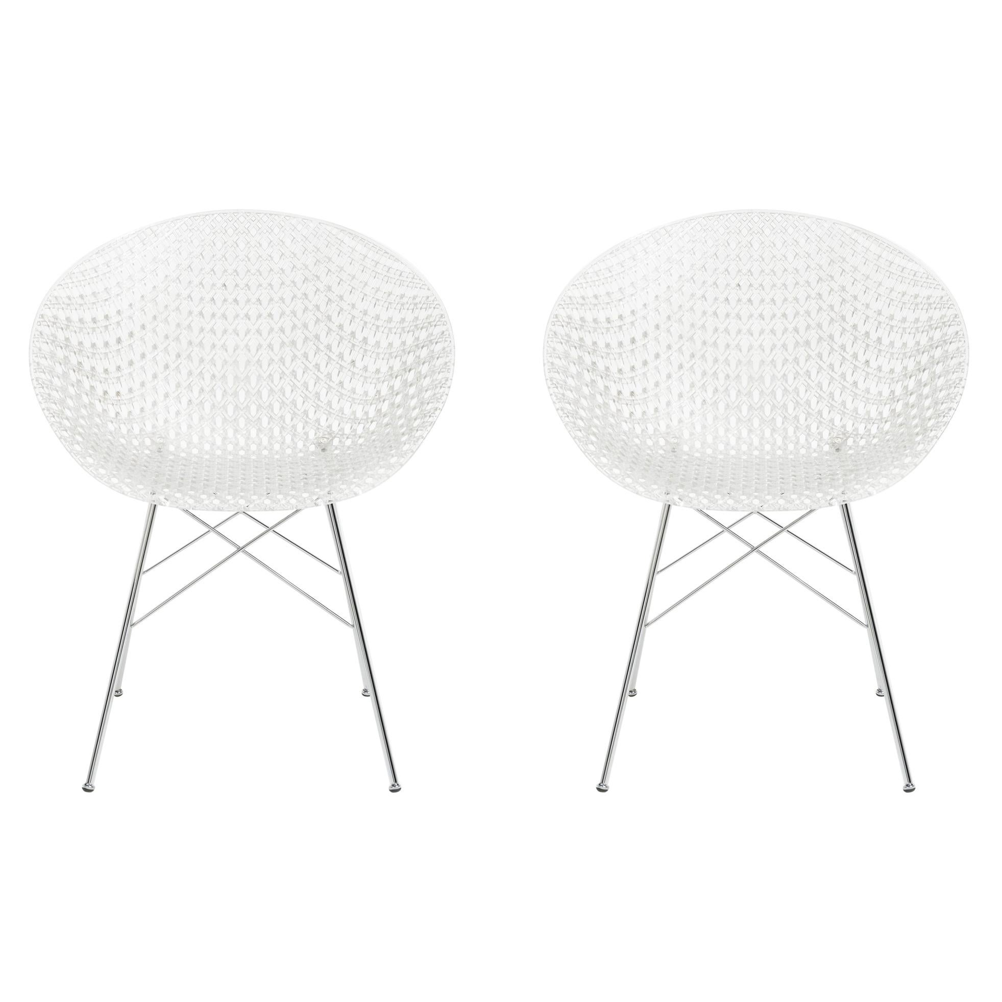 Set of 2 Kartell Smatrik Chair in Crystal with Chrome Legs by Tokujin Yoshioka