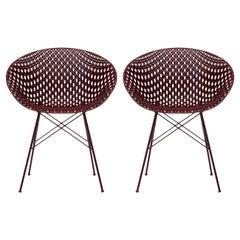Set of 2 Kartell Smatrik Chair in Plum with Plum Legs by Tokujin Yoshioka