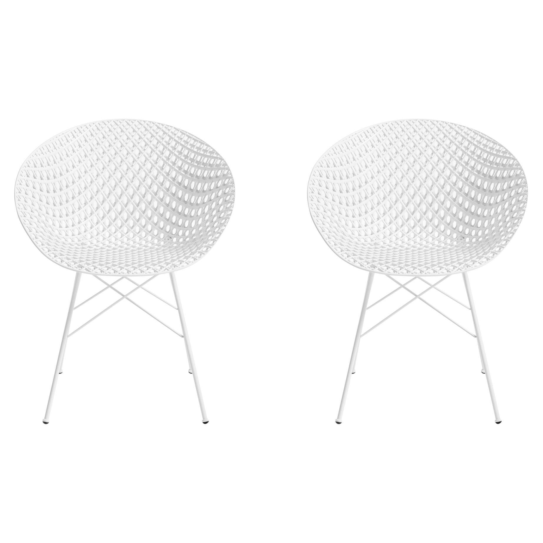 Set of 2 Kartell Smatrik Chair in White with White Legs by Tokujin Yoshioka