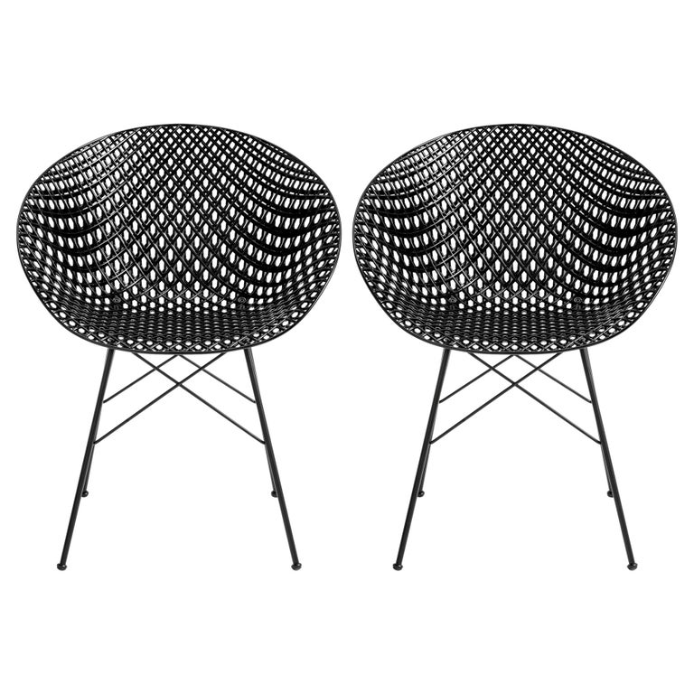 Set of 2 Kartell Smatrik Outdoor Chair in Black by Tokujin Yoshioka For Sale