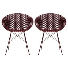 Set of 2 Kartell Smatrik Outdoor Chair in Plum by Tokujin Yoshioka