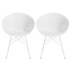 Set of 2 Kartell Smatrik Outdoor Chair in White by Tokujin Yoshioka