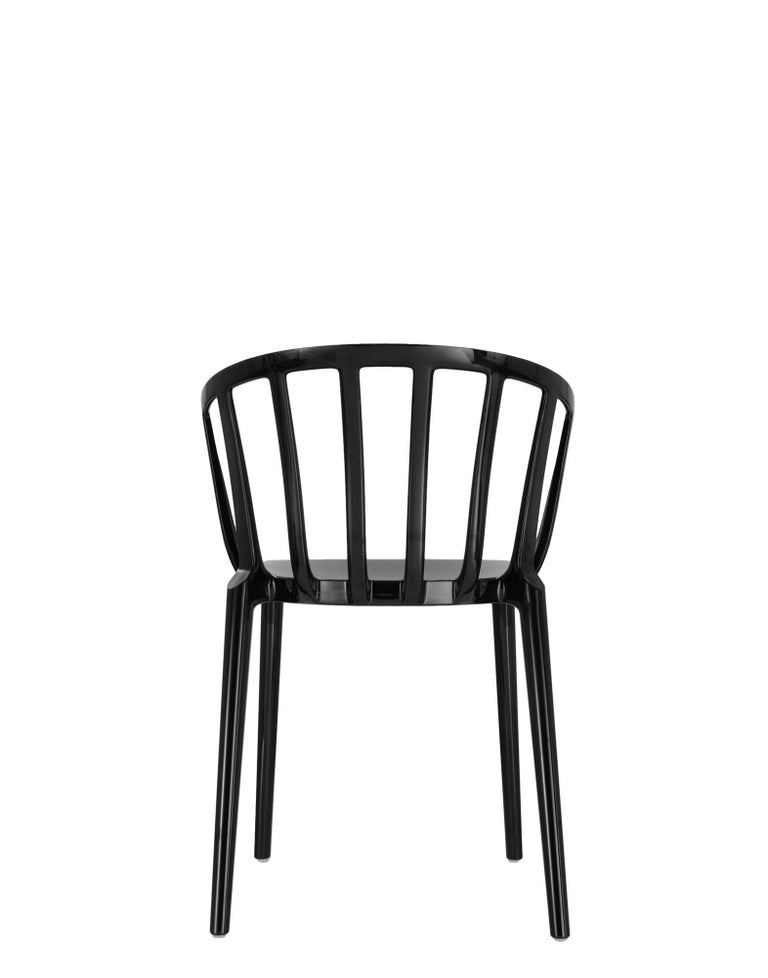 Italian Set of 2 Kartell Venice Chairs in Black by Philippe Starck For Sale
