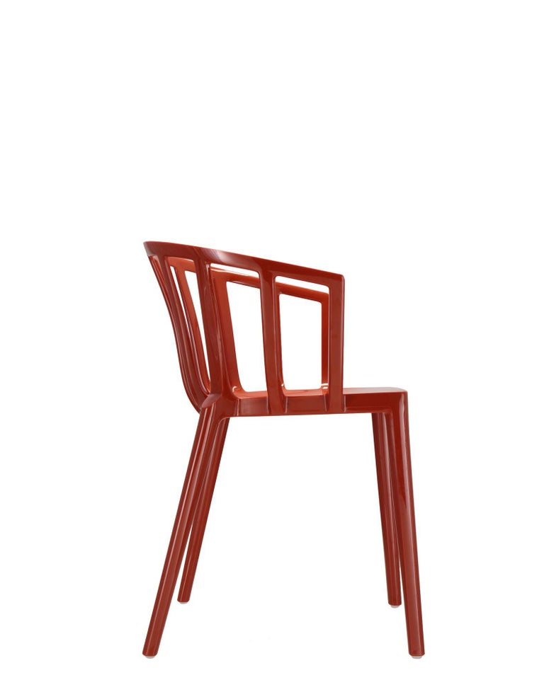 Modern Set of 2 Kartell Venice Chairs in Rust Orange by Philippe Starck For Sale