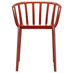 Set of 2 Kartell Venice Chairs in Rust Orange by Philippe Starck