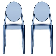 Set of 2 Kartell Victoria Ghost Chairs in Powder Blue by Philippe Starck