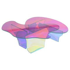 Set of 2 Kinetic Colors Glass Table by Brajak Vitberg