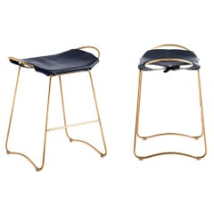 Set of 2 Kitchen Counter Stool Aged Brass Steel & Navy Saddle Contemporary Style