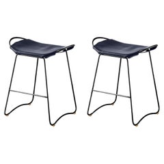Set of 2 Kitchen Counter Stool Black Steel, Navy Blue Leather Contemporary Style