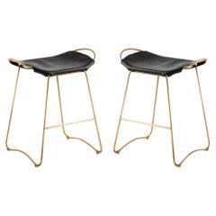 Set of 2 Kitchen Counter Stool Brass Steel & Black Saddle, Contemporary Style