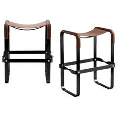 Set of 2 Kitchen Counter Stool, Contemporary Design, Black Steel & Brown Leather
