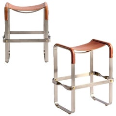 Set of 2 Kitchen Counter Stool Contemporary, Old Silver Steel & Tobacco Leather