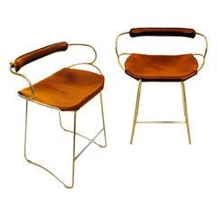 Set of 2 Kitchen Stool w. Backrest Brass Steel Natural Tobacco Leather Modern