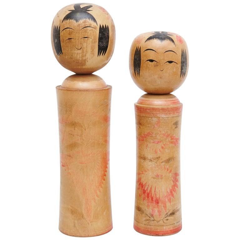 "Set of 2 ""Kokeshi"" Dolls For Sale"