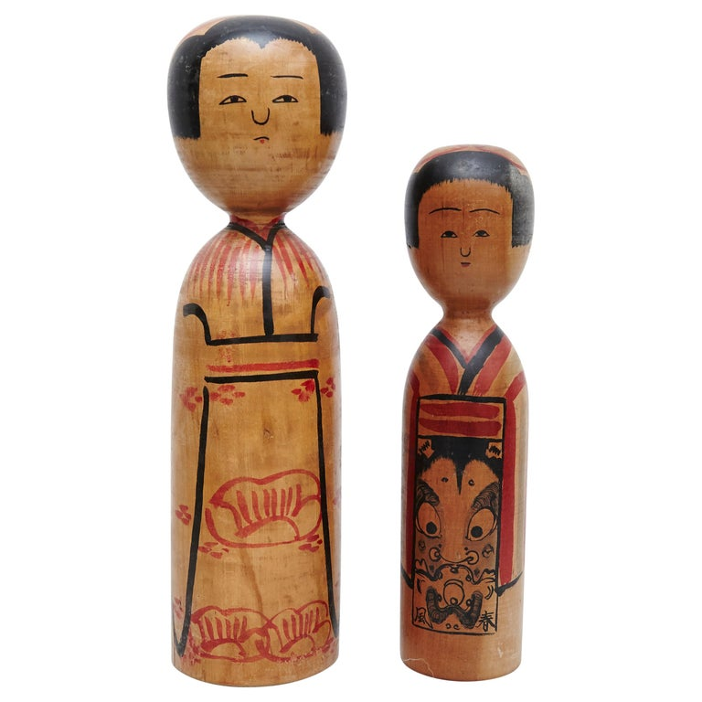 "Set of 2 ""Kokeshi"" Dolls For Sale"