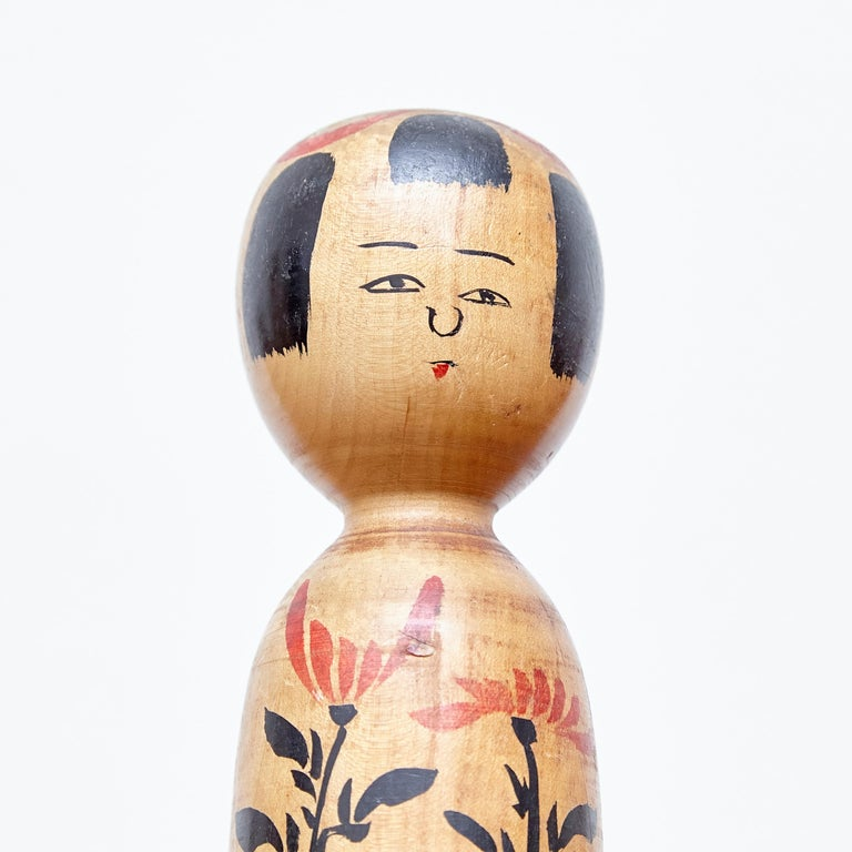Set of 2 Kokeshi Japanese Wood Hand Painted Doll For Sale 6