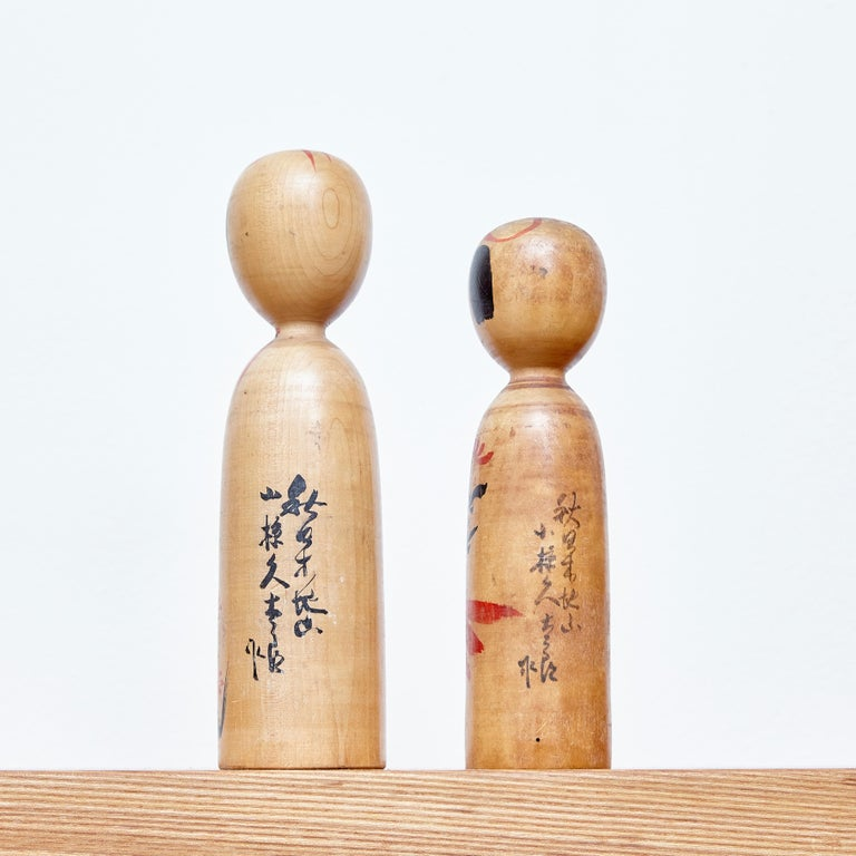 Edo Set of 2 Kokeshi Japanese Wood Hand Painted Doll For Sale