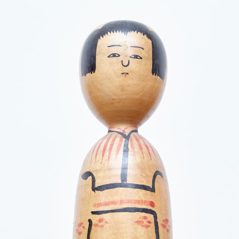 Set of 2 Kokeshi Japanese Wood Hand Painted Doll For Sale 3