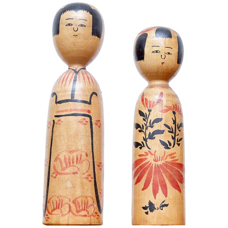 Set of 2 Kokeshi Japanese Wood Hand Painted Doll For Sale