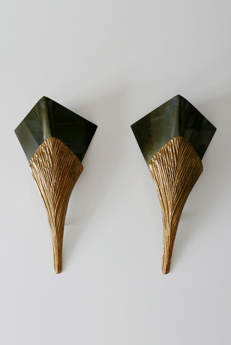 Set of 2 Large Bronze Nefertiti Sconces by Chrystiane Charles for Charles Paris For Sale 2