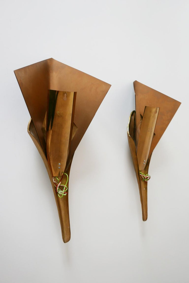 Set of 2 Large Bronze Nefertiti Sconces by Chrystiane Charles for Charles Paris For Sale 3