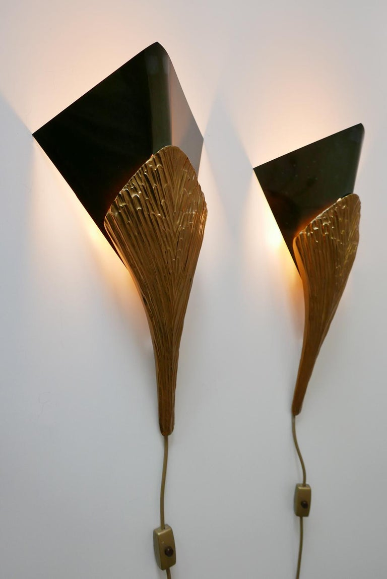 Set of 2 Large Bronze Nefertiti Sconces by Chrystiane Charles for Charles Paris For Sale 4