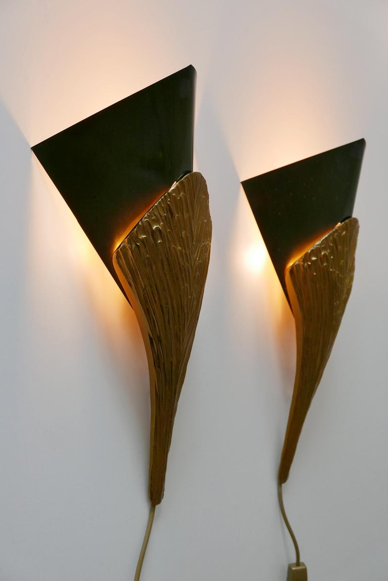 Set of 2 Large Bronze Nefertiti Sconces by Chrystiane Charles for Charles Paris For Sale 5