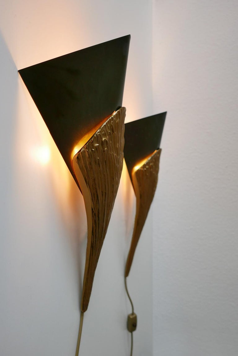 Set of 2 Large Bronze Nefertiti Sconces by Chrystiane Charles for Charles Paris For Sale 6
