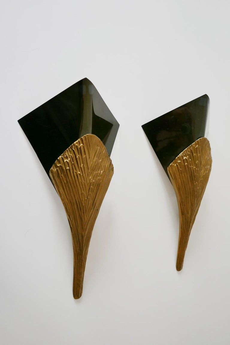Mid-Century Modern Set of 2 Large Bronze Nefertiti Sconces by Chrystiane Charles for Charles Paris For Sale