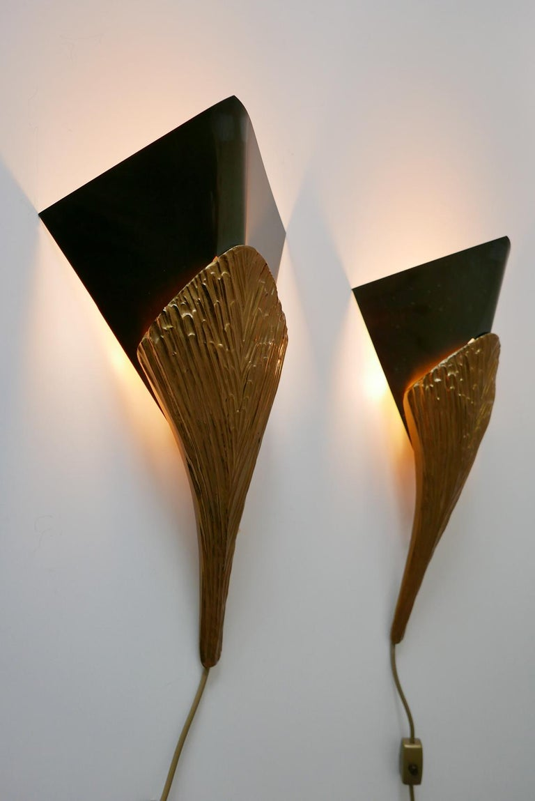 French Set of 2 Large Bronze Nefertiti Sconces by Chrystiane Charles for Charles Paris For Sale