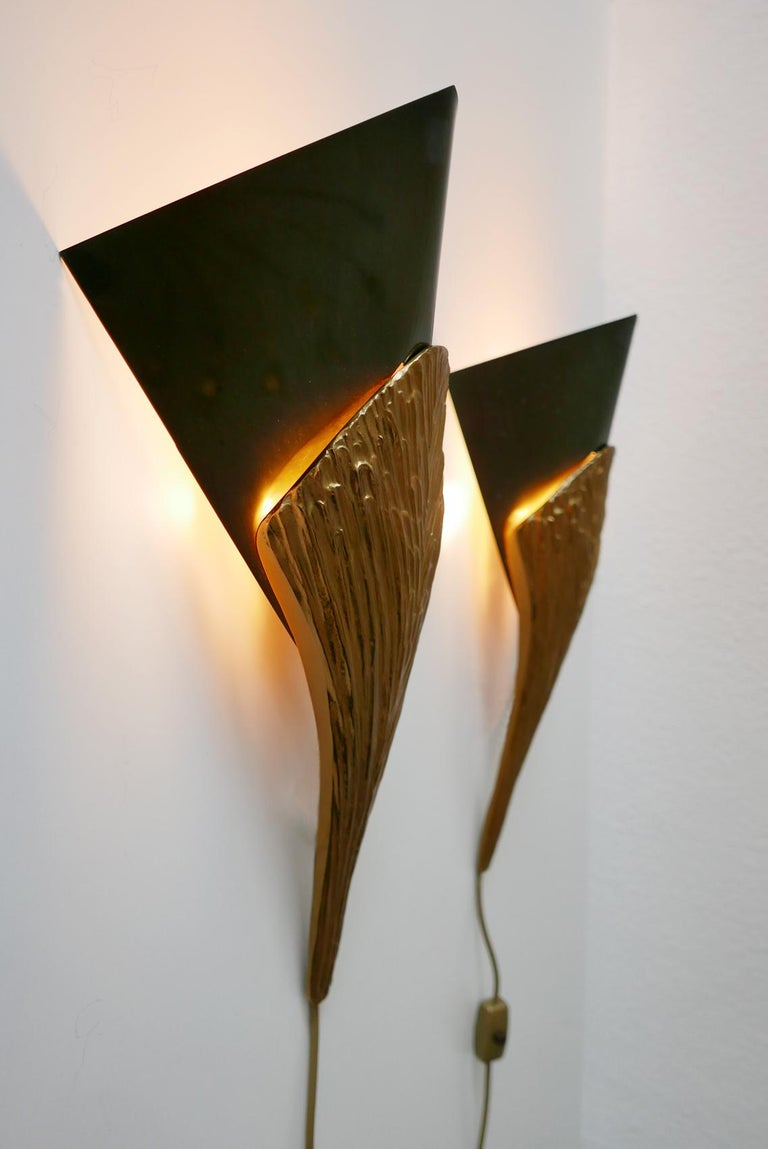 Gilt Set of 2 Large Bronze Nefertiti Sconces by Chrystiane Charles for Charles Paris For Sale