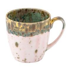 Set of 2 Large Mugs Gold Hand Painted Coralla Maiuri Modern New
