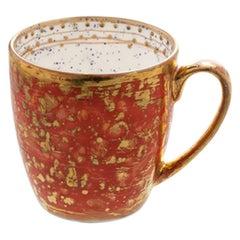 Set of 2 Large Mugs Gold Hand Painted Coralla Maiuri Modern New Tableware